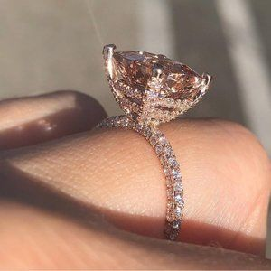NEW 6CT 18K Rose Gold Huge Morganite Diamond Ring